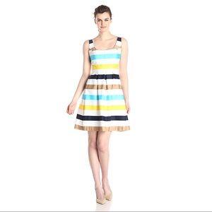 Nine West Retro Stripe Cotton Fit and Flare Dress